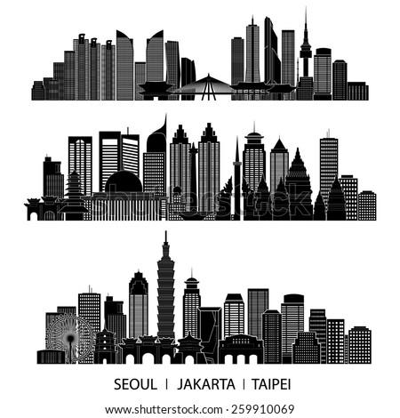 skyline detailed silhouette set (Seoul, Jakarta, Taipei). Vector illustration - stock vector