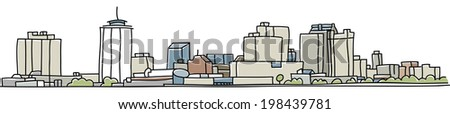Skyline illustration of the city of New Orleans, Louisiana, USA. - stock vector