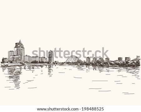 Skyline of Astana city riverside, Hand drawn illustration, Vector sketch. - stock vector