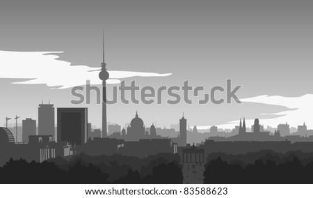Skyline of Berlin, illustration - stock vector