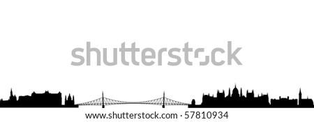 Skyline of Budapest - stock vector