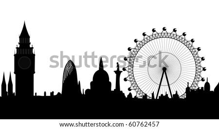 skyline of London - vector - stock vector