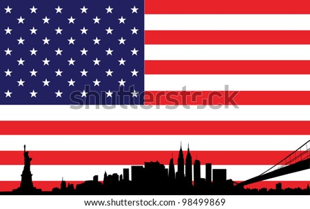 skyline of new york city with flag of united states of america - stock vector