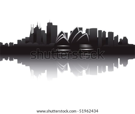 Skyline of Sydney - stock vector