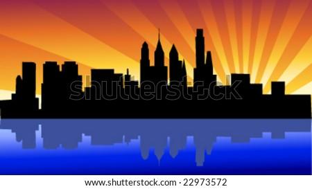 skyline  philadelphia - stock vector
