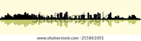 Skyline silhouette of the city of Miami, Florida, USA.