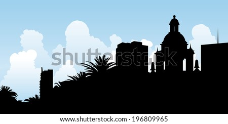 Skyline silhouette of the city of San Diego, California.