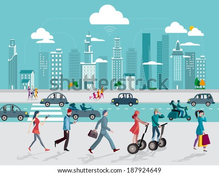 Skyline skyscrapers  and people walking on the street using their smart phones and digital tablets. - stock vector
