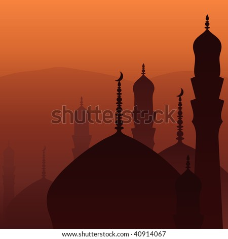 Skyline with minarets and domes of mosques. - stock vector