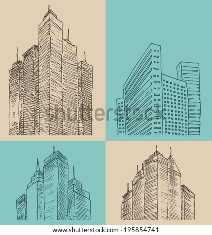 skyscraper, city architecture, vintage engraved illustration, hand drawn, sketch - stock vector