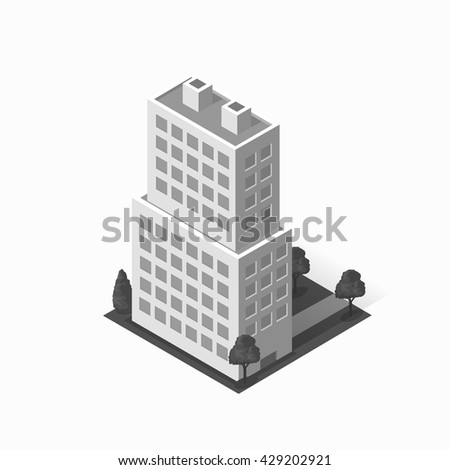 Skyscraper logo building icon. Building and isolated skyscraper, tower and office city architecture, house business building logo, apartment office vector illustration - stock vector