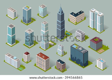 Skyscraper logo building icon. Set of buildings and isolated skyscraper. Isometric tower and office city architecture buildings, 3d house business building, apartment office vector illustration - stock vector