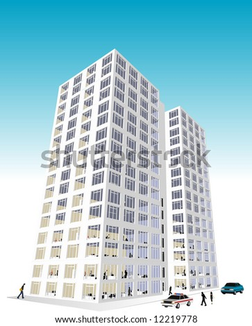 Skyscraper / Office Block in vector format. Every feature of each building including doors and windows can be edited or colored to suit. - stock vector