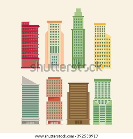Skyscraper offices flat business buildings set - stock vector