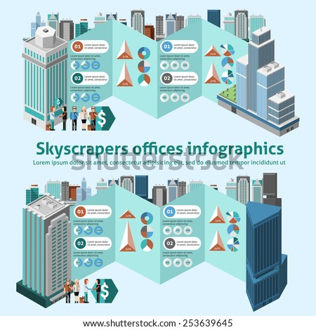 Skyscraper offices infographics with 3d isometric high buildings and charts vector illustration - stock vector