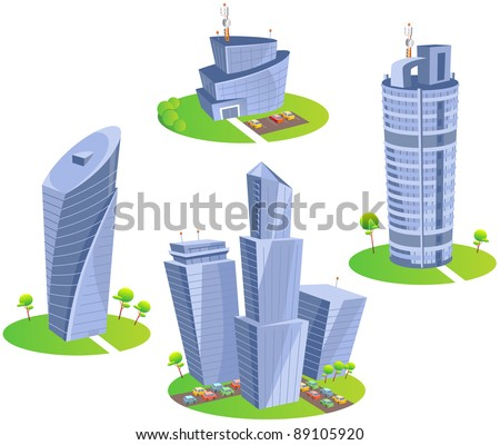 Skyscrapers. Fun cartoon map elements: trees, hotel, skyscrapers, cars. (set 3) - stock vector