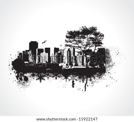 Skyscrapers Grunge city on white background. Vector art - stock vector