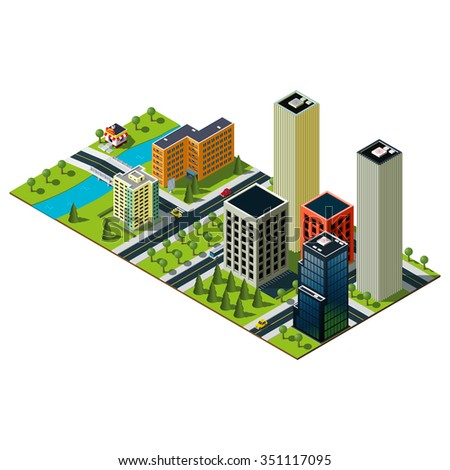 Skyscrapers illustration. Isometric city map. Bridge over the wide river in downtown. Bakery illustration.