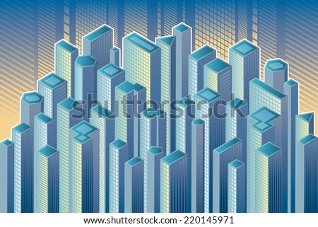 Skyscrapers. Isometric view of skyscrapers. - stock vector