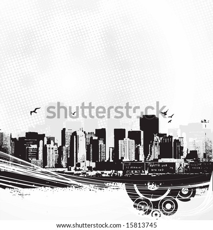 Skyscrapers on white background. Vector art - stock vector