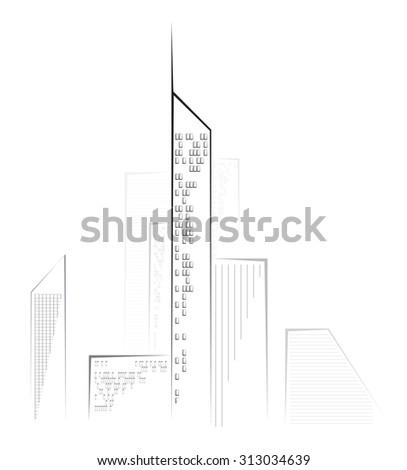 skyscrapers silhouette - stock vector