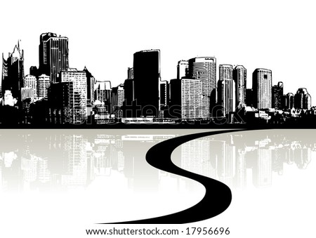 Skyscrapers silhouette and reflection in the water (background ,vector, illustration) - stock vector