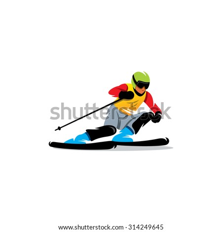 Slalom sign. Athlete on the downhill. Vector Illustration. Branding Identity Corporate logo design template Isolated on a white background