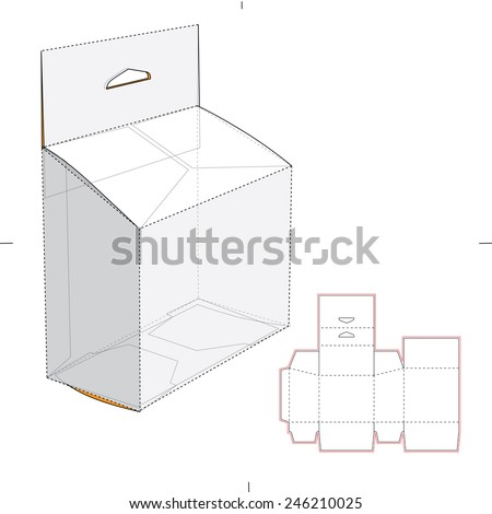 Slanted Box with Hang Tag and Die Cut Template - stock vector