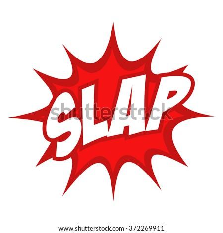 Slap text in comic splash icon - stock vector