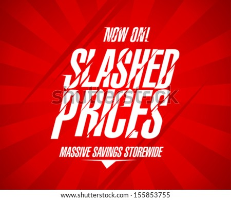 Slashed prices design template. - stock vector