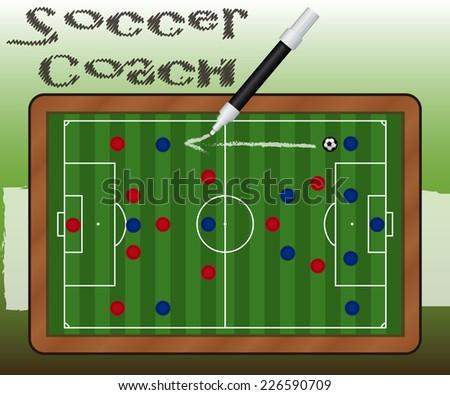Slate Soccer Coach - stock vector