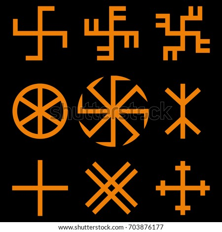 Slavic Amulets Symbols Set Solar Symbols Stock Vector Royalty Free