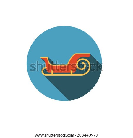 Sledge of Santa Claus. ,Flat style with long shadows  - stock vector