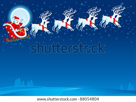 Sledge with Santa Claus. Vector christmas card with flying Sledge with Santa Claus - stock vector