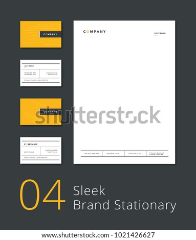 Sleek Stationary Template Business Card Letterhead Stock Vector - Template for a business card