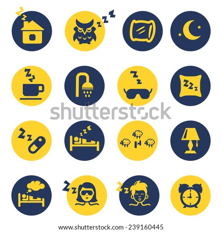 Sleep and insomnia icons isolated in yellow and dark blue circles. Vector illustration - stock vector