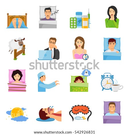 Sleep disorders decorative icons set with cartoon characters of suffering people sleeping mask alarm and medication vector illustration