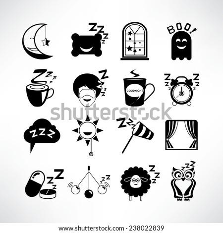 sleep icons, sleep time concept icons set - stock vector