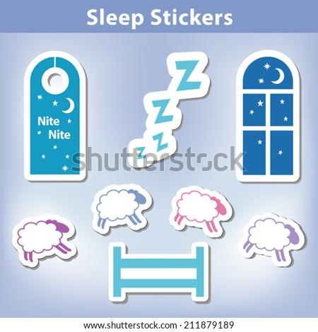 Sleep Stickers: count sheep jumping a fence, starry night, window, moon, stars, door hanger for a good night dreaming,  Zzz. EPS8 compatible. - stock vector