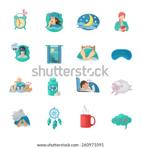 Sleep time flat icons set with alarm clock moon dreaming symbols isolated vector illustration - stock vector