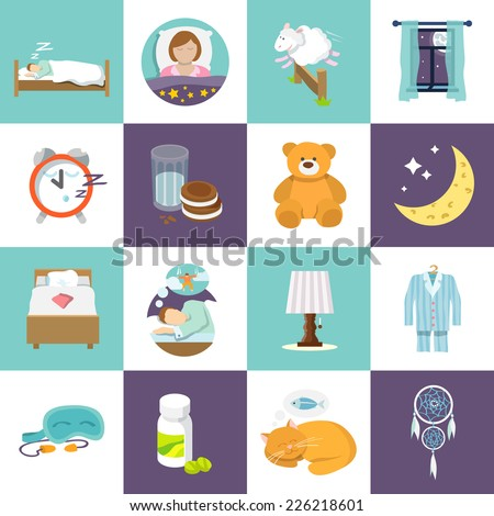 Sleep time icons flat set with bed alarm clock mask isolated vector illustration. - stock vector