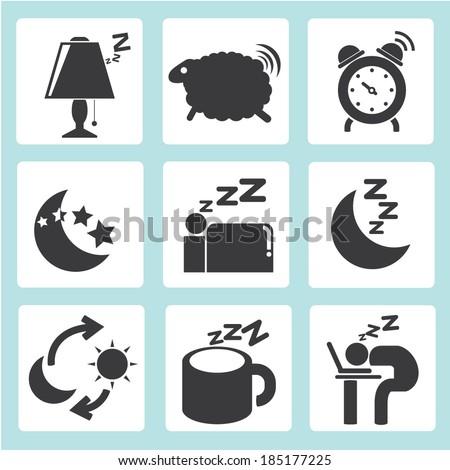 sleep time icons set - stock vector