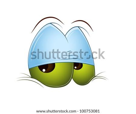 Sleepily Cartoon Eye - stock vector