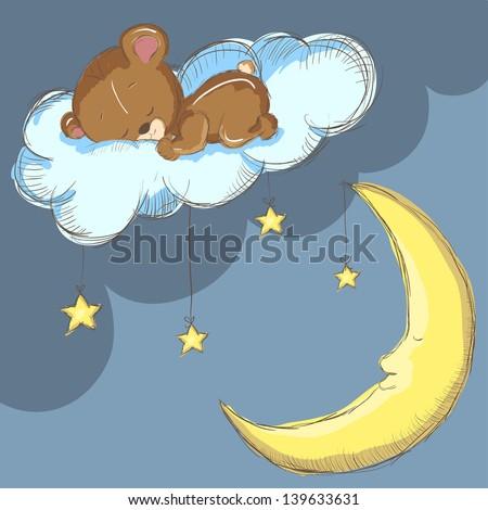Sleeping bear on a cloud with moon and stars - stock vector