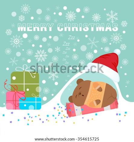 Sleeping Bear under  cap of Santa Claus. - stock vector