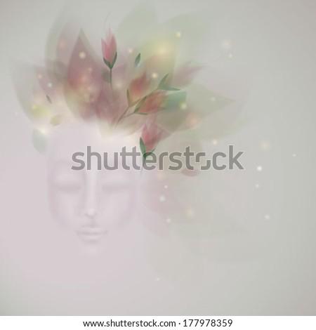 Sleeping beauty / Surreal illustration of Spring like Woman - stock vector