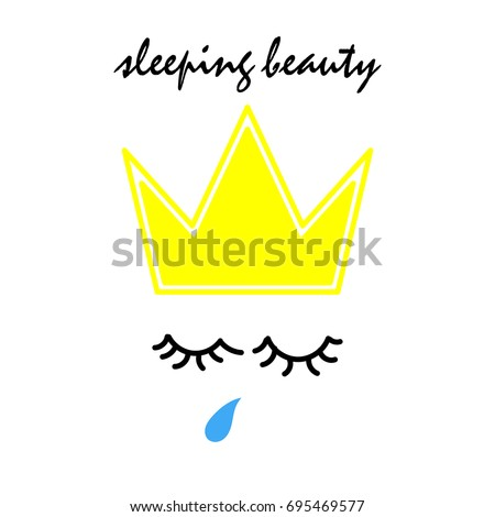Sleeping Beauty Text Hand Drawn Crown Stock Vector 695469577