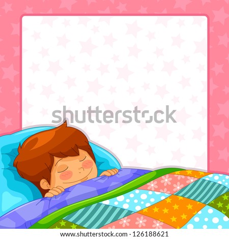 sleeping boy with copy space (JPEG available in my gallery) - stock vector