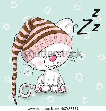 Sleeping cute Kitten in a hood on a white background - stock vector