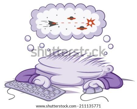 Sleeping gamer cartoon, vector, horizontal, over white,  isolated  - stock vector